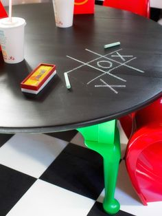 Create a Crafting Spot ~  Give your kids a designated crafting area by repurposing an old coffee table as a kid-sized workstation. Stick with tables no taller than 19 inches high. Round tables are safest since they're free of sharp edges. Add chalkboard paint on top of the table to create a built-in drawing surface.