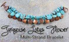 Turquoise Lotus Flower Multi-Strand Bracelet