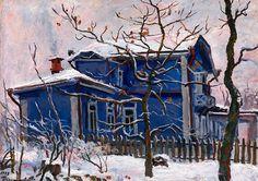 """""""Blue house in winter"""" by Pyotr Konchalovsky (Russian, 1876-1956)"""