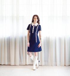 70s MOD Dress Vintage 1970s Dress Parallel by concettascloset