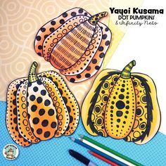 Yayoi Kusama dot pumpkin art lesson! Lots of pattern ideas for your art projects for kids! Step by step infinity nets, too!