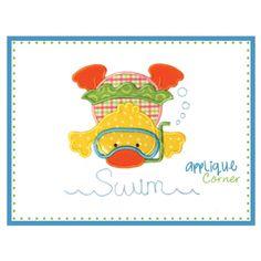 Duck Swim Girl Applique Design