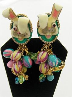 Lunch at the Ritz Rhinestone enamel Easter bunny earrings