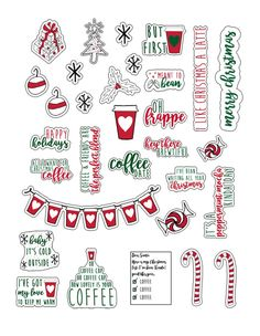 How to Create a Coffee Bar with Starbucks® - Free Printables Included. Free Party banner, favor tag, SVG files for coffee mugs, and planner stickers. Printable Planner Stickers, Journal Stickers, Free Printables, Christmas Stickers Printable, Stickers For Planners, Calendar Printable, Journal Cards, Free Planner, Happy Planner