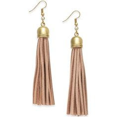 Ali Khan Gold-Tone Tan Leather Tassel Drop Earrings (36 BAM) ❤ liked on Polyvore featuring jewelry, earrings, no color, goldtone jewelry, polish jewelry, mixed metal earrings, mixed-metal jewelry and gold tone jewelry
