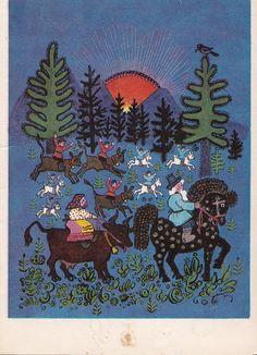 Dessin de la carte postale de Vasnetsov par RussianSoulVintage, $3.50
