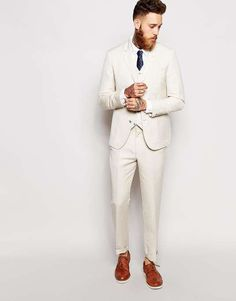 ASOS | Slim Fit Suit Pants In Linen Mix #asos #suit