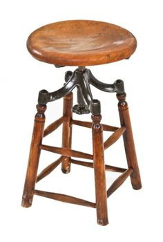 Reconfigured Late 19th Century American Industrial Four Legged Shortened  Solid Birch Wood Adjustable Height Draftsman Stool