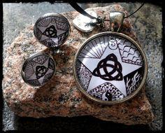 Cabochon-Schmuckset Tangle-Charmed inspiriert von Zentangle® .. gezeichnet von SiebenPfeile