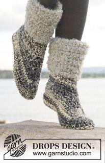 "Crochet DROPS slippers in ""Big Fabel"". Size 35 - 43. ~ DROPS Design"