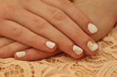 White Gel nails with a touch of gold lace and sparkle. ManiMondays: Two weddings and a Birthday