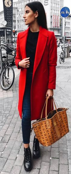 incredible winter outfit / red coat   bag   top   skinnies   boots