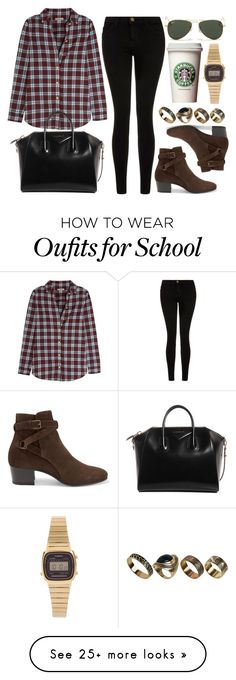 """Style #10154"" by vany-alvarado on Polyvore featuring Current/Elliott, Burberry, Yves Saint Laurent, Givenchy, Ray-Ban, ALDO and Casio"