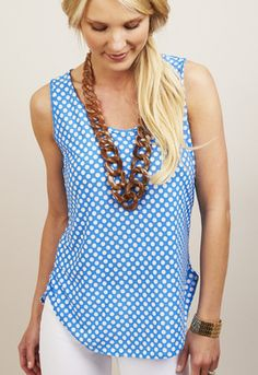 brown necklace and baby blue Knit Dot Tank