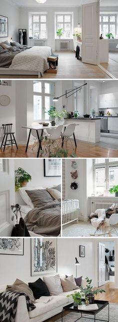 Bonita casita moderna con blancos y colores neutrales. Me encantan las plantas para dan un poco de color vibrante.