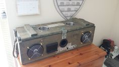 This instructable will demonstrate how to turn a caliber ammunition box into… Diy Boombox, Diy Speakers, Bluetooth Speakers, India Home Decor, Old Wooden Boxes, Ammo Cans, Subwoofer Box, Jerry Can, Speaker Design