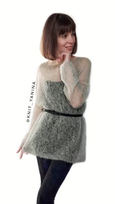 4bcc95f0264 Knit kid mohair sweater. Size M-L. Price  50. Свитер паутинка из кид мохера