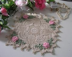 Rose Doily, Cottage Chic, Beaded