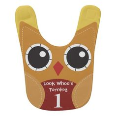 Cute Autumn Owl 1st Birthday Baby Bib