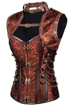 a80c7d2cec  steampunk Look gorgeous in our Atomic Brown Steel Boned Collared Steam  with Jacket. https
