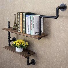 """Reclaimed Wood & Industrial DIY Pipes Shelves Steampunk Rustic Urban bookshelf ✔ The Pipe Shelf made of Two tierThe upper tier Planks Size: length 23 """"X width the lower tier Planks size: 16 """"wide ✔ Made of high quality metal pipes&solid wood Diy Pipe Shelves, Industrial Pipe Shelves, Industrial Home Design, Rustic Shelves, Pipe Shelving, Warm Industrial, Storage Shelves, Industrial Style, Pipe Furniture"""