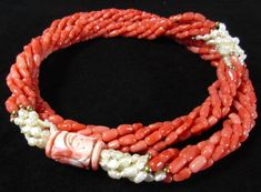 Chinese Multi Strand Coral and Pearl Necklace (item detailed views) Coral Jewelry, Jewelry Art, Jewelry Necklaces, Jewelry Design, Bracelets, Jewellery, Coral Turquoise, Pearl Necklace, Chinese
