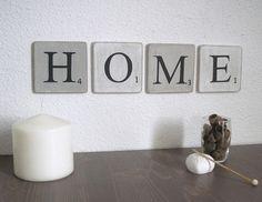 Lettres en bois patiné Blanc et gris  decoration murale mot HOME