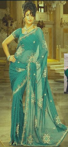 #Blue #Saree £145.00 For full product information http://www.reevaonline.co.uk/sarees/teal-blue-faux-georgette-saree-with-blouse-fabric.html