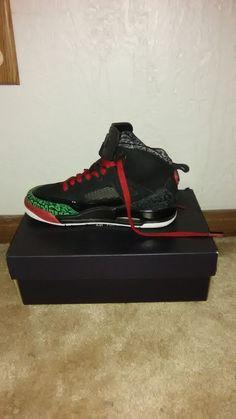 size 40 85a3f affed Nike Air Jordan Spizike BG Black Red-Green Big Kids Basketball Shoes 317321-