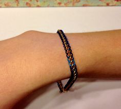 """Blue and Yellow Chainmaille Bracelet, Half Persian 3 in 1, Adonized Aluminum Jump Rings, 20g 1/8"""", 8"""" Long"""