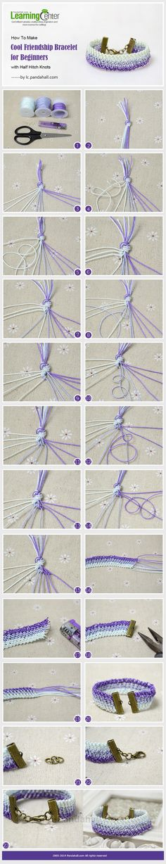 See this purple ombre friendship bracelet tutorial and learn how to make cool friendship bracelet with half hitch knots for beginners. Friendship Bracelets Tutorial, Friendship Bracelet Patterns, Bracelet Tutorial, Bracelet Crafts, Jewelry Crafts, Handmade Jewelry, Half Hitch Knot, Micro Macramé, Diy Schmuck