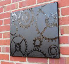 Gears Art Tone on Tone Modern Black Gears / Steampunk by RipdNTorn, $80.00