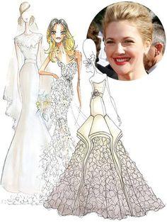 Drew Barrymore's Wedding Dress: Designer Sketches | A well ...