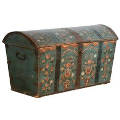 Antique Original Painted Swedish Trunk, dated 1836 | From a unique collection of antique and modern blanket chests at http://www.1stdibs.com/furniture/storage-case-pieces/blanket-chests/