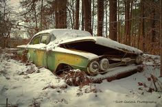 """Miffed in a Drift"" This old Chevy Biscayne takes us back to a time when drifting had to do more with snow then with illegal street racing involving cars whose names you can't pronounce! The bent hood gives the old girl an animated look of displeasure about being forsaken in the Carolina countryside. (2014)"