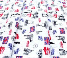 Robert Kaufman Fabrics Next Stop, London SB-850262D3-1 London Icons White London Icons, Robert Kaufman, Fabric, Tejido, Tela, Cloths, Fabrics, Tejidos