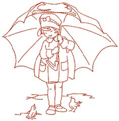 Red work — child sheltering two birds with an oversized umbrella