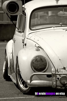 Daily Driver, Sepia Art, Urban Art, VW Bug, Street Art, Urban Photography by bluerainimages on Etsy