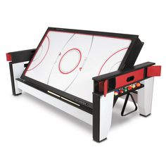 Get this Billiard and Air Hockey table for your game room for endless fun. The billiards side features a red nylon blend cloth, allowing for a smooth roll of the pool table balls. The air hockey side features a motor for continuous action. Game Room Tables, Table Games, Pool Tables, Boutique Interior, Teen Game Rooms, Multi Game Table, Table Flip, Teen Lounge, Hammacher Schlemmer