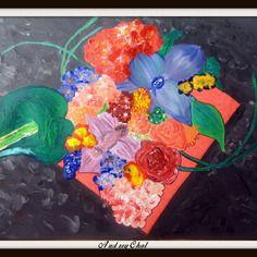 Bouquet de fleur composition florale peinture acrylique grand format 70x50 cm
