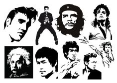 Famous dead people vector stencil cutout artworks http://www.designfreebies.org/free-vectors/free-vector-stylized-stencil-cutout-portraits-of-famous-people/