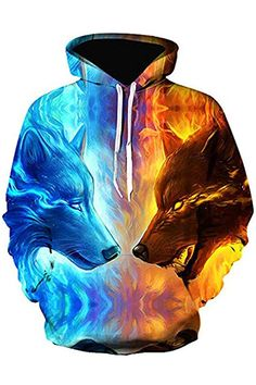 Azuki Unisex Realistic Print Pullover Hooded Hoodies with Big Kinds 7b0be0b226