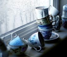 blue, cups, rain, vintage, window