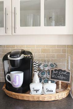 Coffee Station Kitchen, Coffee Bars In Kitchen, Coffee Bar Home, Home Coffee Stations, Coffee Kitchen Decor, Office Coffee Station, Coffee Area, Coffee Nook, Coffee Coffee