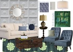 Navy and green...replace blue accents with navy in living room (keep the green) maybe throw in orange.