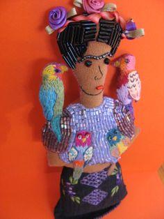 Frida with Parrots www.snapdragonoriginals.etsy.com