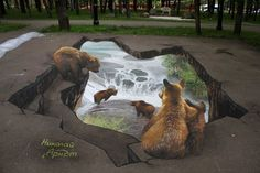 Street Art: Impressive 3D Sidewalk Paintings by Nikolaj Arndt http://designwrld.com/sidewalk-paintings-by-nikolaj-arndt/