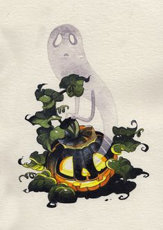 Creative Illustration, Ghost, Painting, Alliebirdseed, and Inktober image ideas & inspiration on Designspiration Halloween Illustration, Halloween Drawings, Halloween Art, Illustration Art, Ghost Drawing, Creepy Art, Art Plastique, Game Design, Inktober