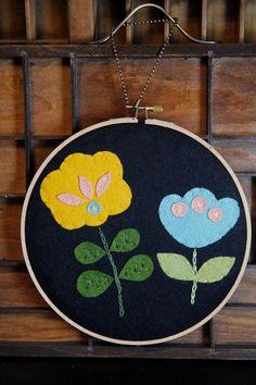 Modern Floral Wall Art Embroidery Hoop Art by by CatshyCrafts, $45.00