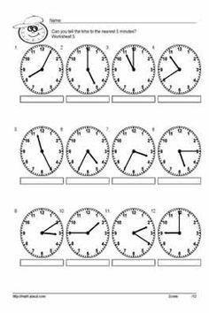 Teach Your Kids to Tell Time to the Nearest 5 With These Handy Worksheets: Worksheet # 5